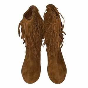 Alba Paris Brown Fringed Heeled Ankle Boots 8.5